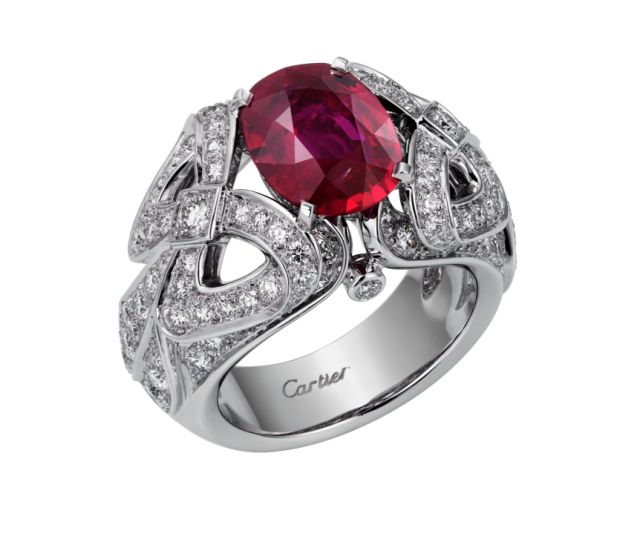 Pigeon's blood ruby and diamond ring, price on request, cartier.us