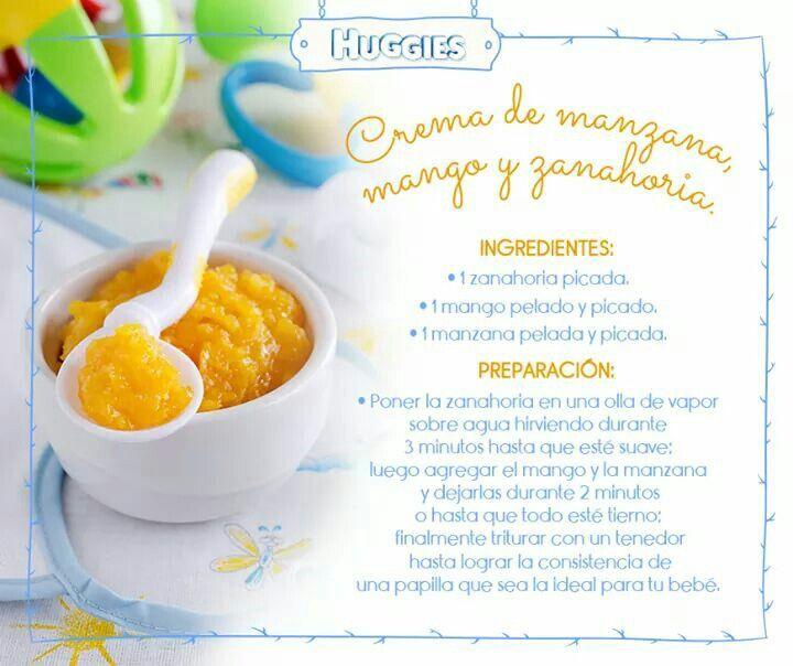 Crema manzana, mango y zanahoria