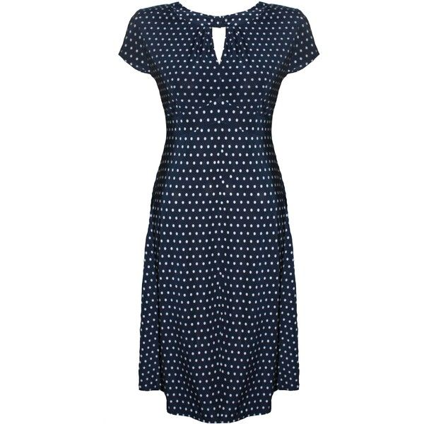 'Dotty' navy blue white polka dot 1940's style tea dress-16 (820 ARS) ❤ liked on Polyvore featuring dresses, navy blue and white dress, blue and white polka dot dress, navy blue polka dot dress, blue white dresses and navy dress