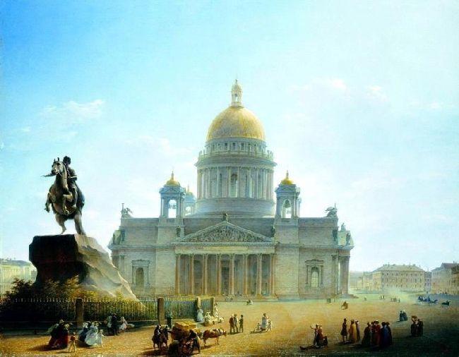 1844-Voroberv-It's Isakievsk palace-ВОРОБЬЕВ-Исаакиевский собор и памятник Петру I