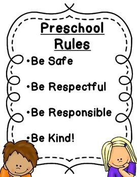 Preschool rules! Keeping it simple! These 4 rules cover almost any situation that may arise. Included are 2 versions: classroom rules with color illustrations and preschool rules with black and with illustrations.These can also be found in my  Classroom Rules and Behavior Chart Pack!