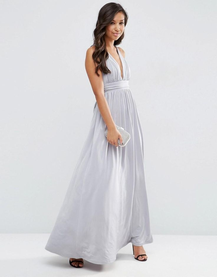 ASOS | ASOS Slinky Ruched Tie Back Maxi Dress at ASOS