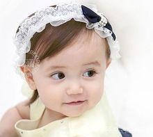 Super adorável faixa de cabelo cor sólida rendas faixa de cabelo coreano crianças cabelo princesa tiara A130(China (Mainland))