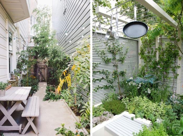 aménagement de petit jardin en ville avec un coin repas meubles en bois
