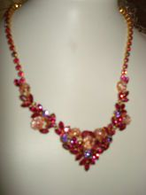Juliana D Magenta and Apricot Easter Egg Necklace