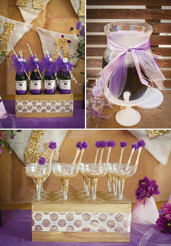 glitter bottles & glasses, Groovy & Glitzy Purple Haze First Birthday Party