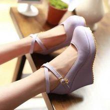 Comfort mujeres de la cruz correa bombas cerrados plataforma tacones altos zapatos de las cuñas marca nuevas mujeres bombas para mujer zapatos de cuña(China (Mainland))
