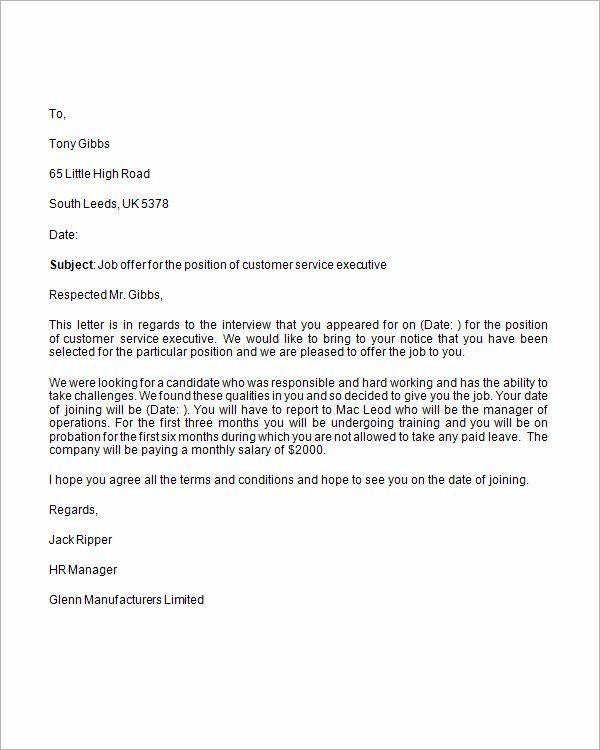 Job Offer Letter Template Word Elegant Free 15 Sample Job Fer Letters In Pdf Word Letter Of Employment Job Application Cover Letter Business Letter Template