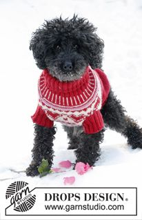 """Walentynkowy płaszcz dla psa, z żakardem w serca, z włóczki """"Karisma"""". Od XS do L. ~ DROPS Design"""