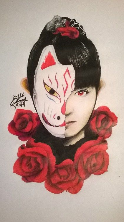 Suzuka Nakamoto from Babymetal AKA Su-Metal.  Done with Pencil, pencil crayons, markers and white paint.  EllieGrey2014