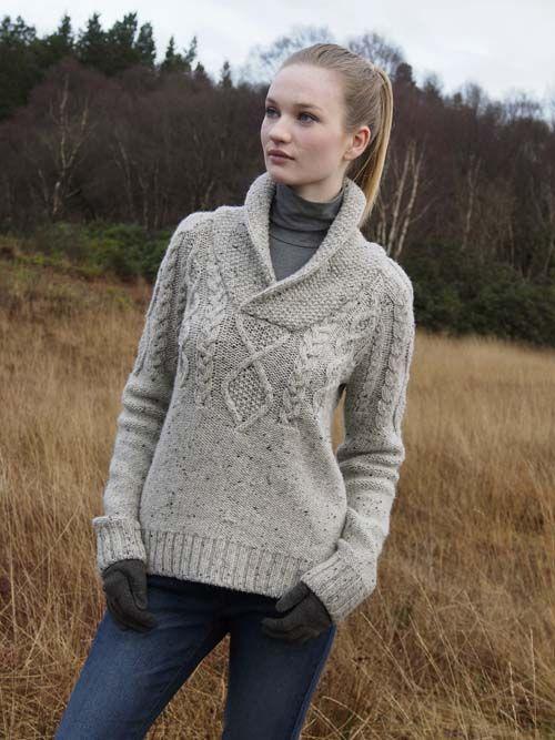 NUA UNISEX SHAWL COLLAR SWEATER - N90 [179] - $189.95 : Irish Sweaters Aran Sweater, Irish Wool Sweaters