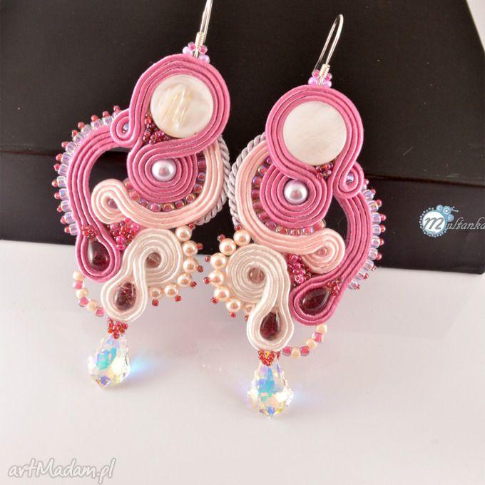 Biało różowe śłubne kolczyki sutasz śłub soutache swarovski przepiękne połączenie bieli różu  Soutache earrings with rose  #wedding #bride #sutasz #soutache #jewelry #earrings #ohrringen