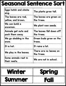 sentences about fall season