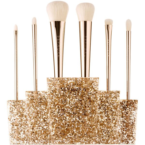 SEPHORA COLLECTION Glitter Happy Brush Set found on Polyvore featuring beauty products, makeup, makeup tools, makeup brushes, beauty, set of brushes, set of makeup brushes and sephora collection