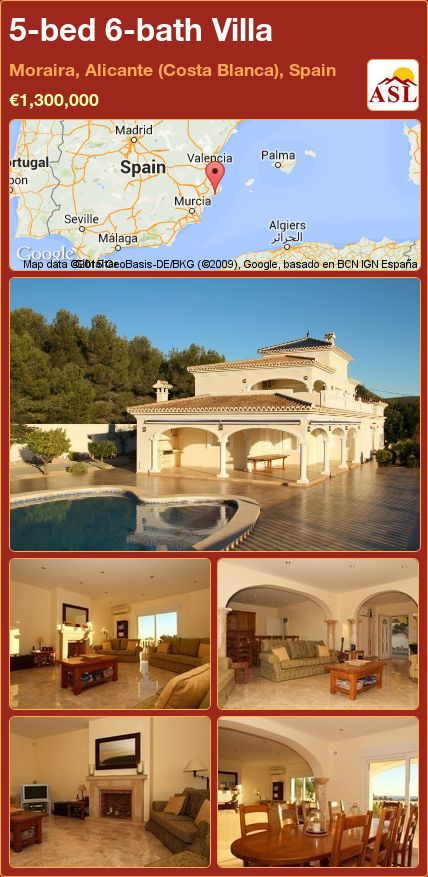 5-bed 6-bath Villa in Moraira, Alicante (Costa Blanca), Spain ►€1,300,000 #PropertyForSaleInSpain