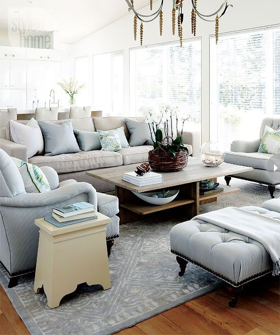 Living Room Decor Ideas   Modern Family Cottage Style In Light Blue And  Cream Colors. Part 57