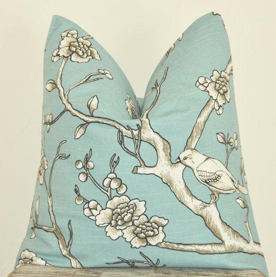 Blue Bird Pillow, Tree Branch, Pillow Cover, Decorative Pillow, Throw Pillow, Toss Pillow, Home Decor, Home Furnishing, Home Welcome