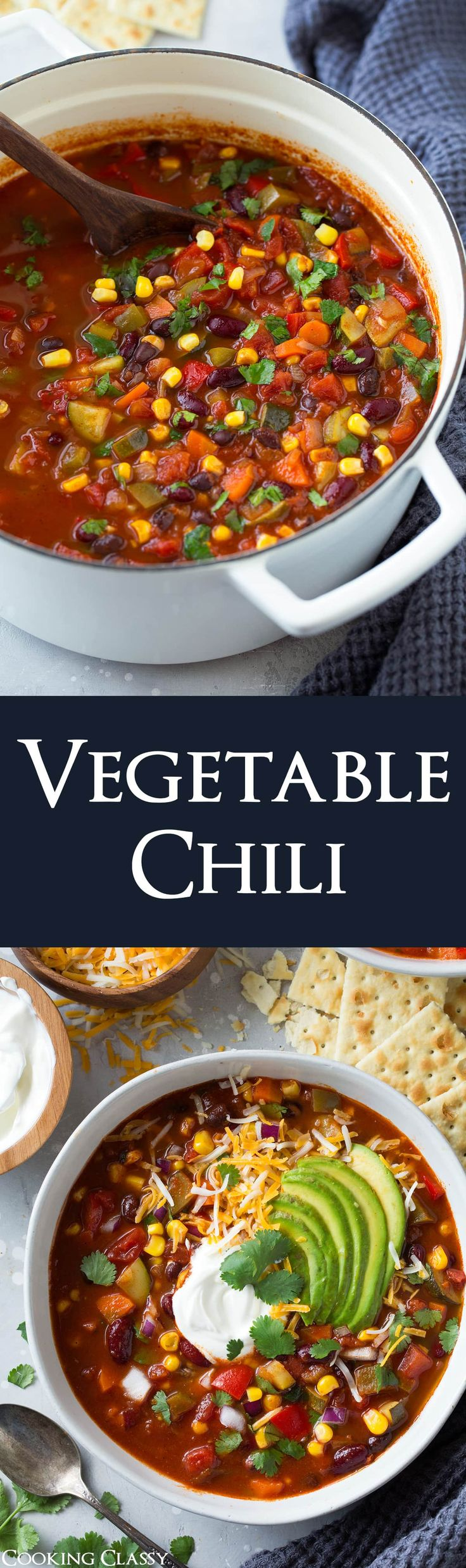 Vegetable Chili - this is jam packed with nutritious veggies and it's so good no one will even miss the meat! It's perfectly hearty and healthy and it's a dinner you can feel great about eating! I'd even say it's a recipe worthy of the recipe book. #chili #vegetables #vegetablechili #soup #healthyrecipe #dinner