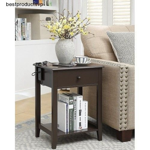 #Ebay #Accent #Table #With #Drawer #Furniture #Living #Room #End #Wood #Side #Espresso #Nightstand #Unbranded #Contemporary