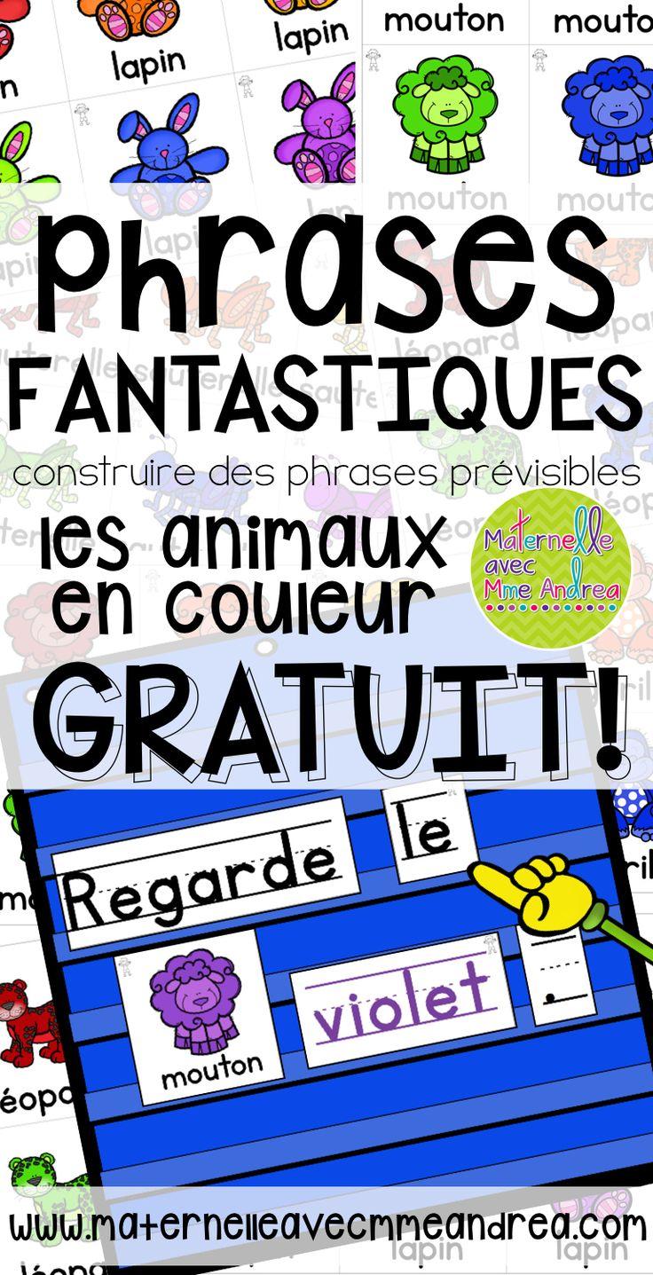 FREE French predictable sentences | Phrases fantastiques - créer les phrases prévisibles avec vos élèves |tableau à pochettes | centres d'apprentissage | GRATUIT | mots fréquents