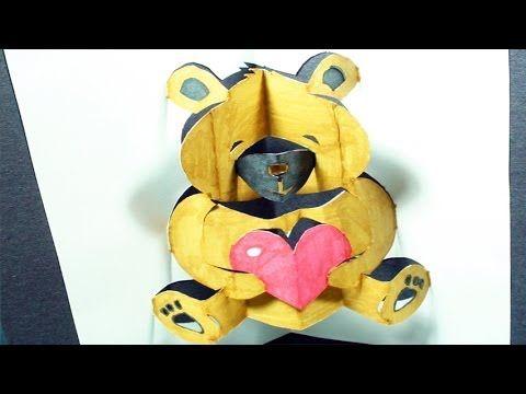 How to make a teddy bear pop up card kirigami 3d for Teddy bear pop up card template free