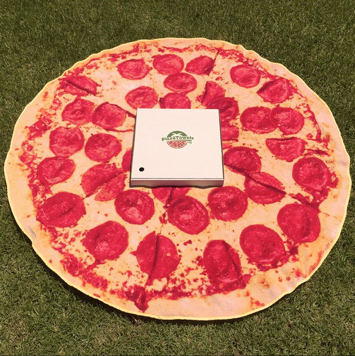 BLIZZARD BLOW-OUT SALE! PizzaTowels.com is an Australian company operating out of Bondi Beach in Sydney.Round, 100% cotton towels with photographic prints of pizza on them! Shipped in a pizza box! Me hungry! LOOK:http://www.pizzatowels.com/?product=the-pepperoni-pizza-towel