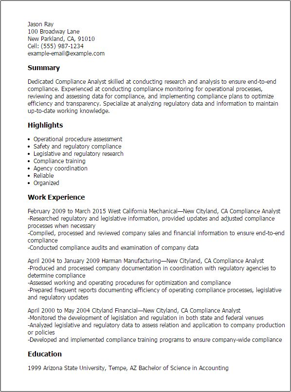 18 best CFA images on Pinterest Resume examples, Sample resume and - compliance analyst resume