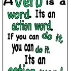 A single page poster to help kids remember what a verb is. Colour coded in green for Australian Curriculum functional grammar colours. Green for pr...