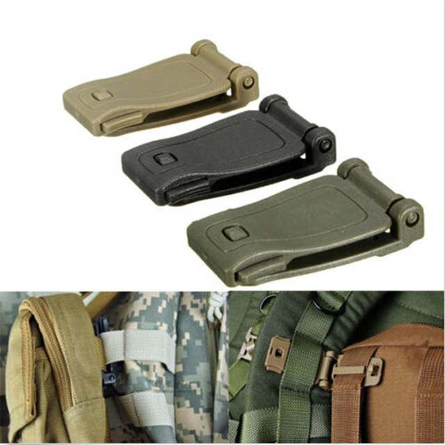 26mm Tan MOLLE Clip Webbing Strap Buckle Connector Join Army Rucksack Bag
