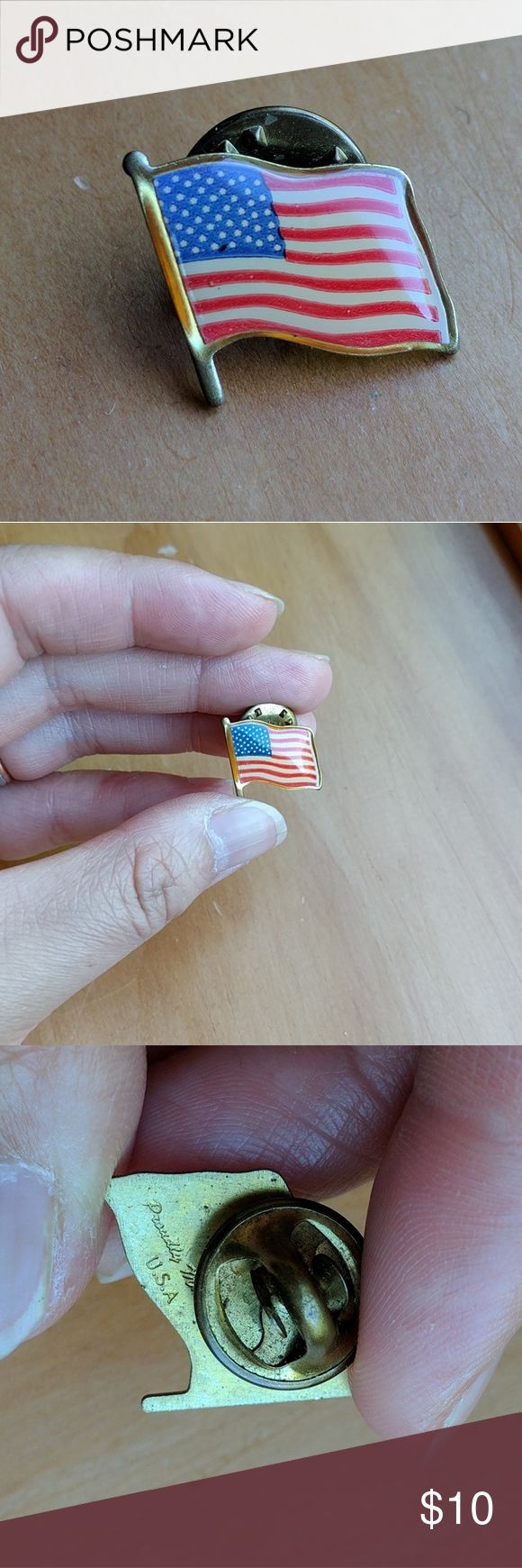 Vintage American flag pin free with $30+ order A vintage American flag pin.  Only one, free with any order $30 (not including the pin) or more between now and July 4th, 2017.  Add it to the bundle and offer less the $10 of the pin.  Made in USA. Vintage Jewelry Brooches
