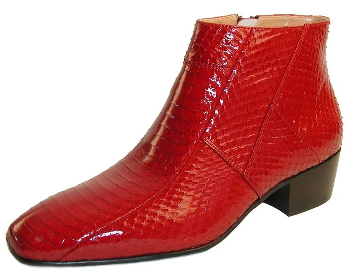 Giorgio Brutini Mens Red Snakeskin Cuban Heel Boots  155490 size 12 ONLY
