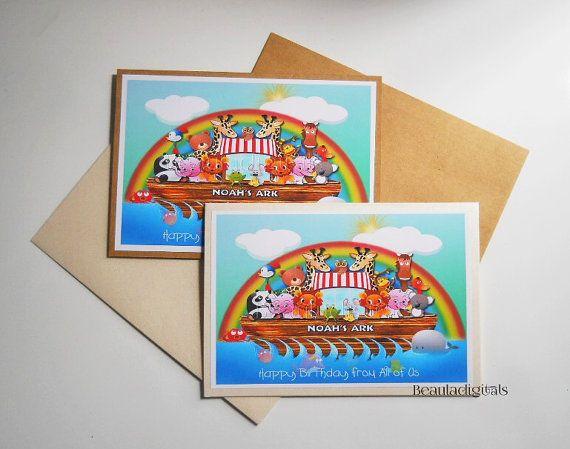 Noah's Ark Whimsical Birthday Card in Kraft or by Beauladigitals