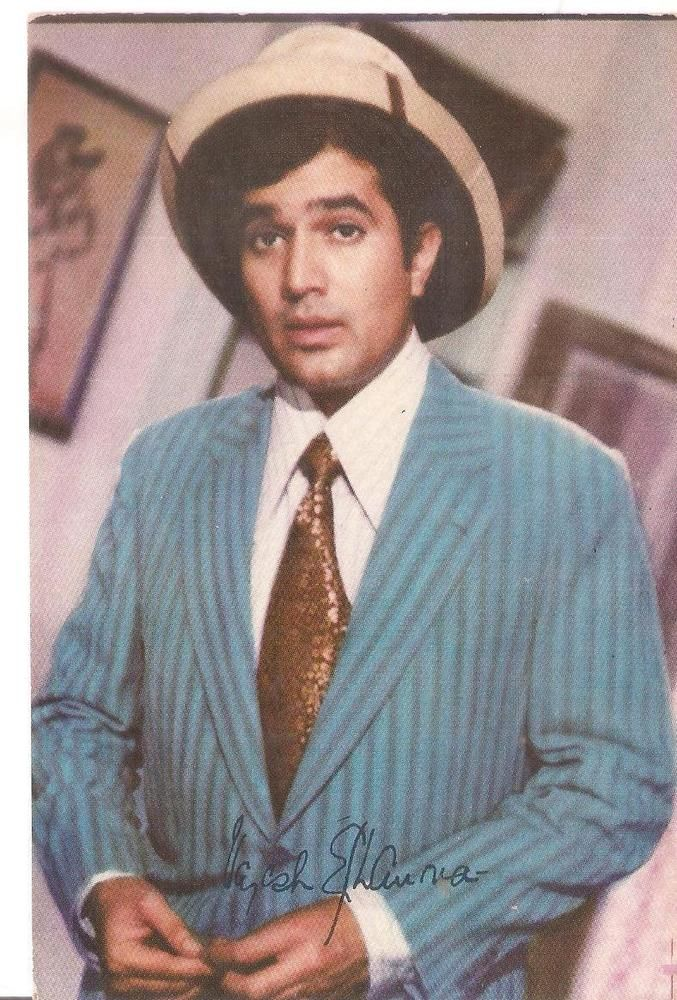 "SIGNED FILMY BOLLYWOOD Memorabilia ppc Legendry RAJESH KHANNA""first superstar"""
