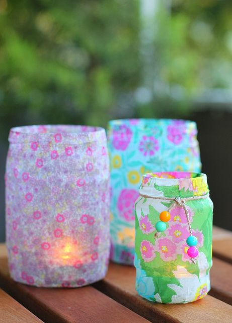 Candle Holders from old jars | Flickr - Photo Sharing!