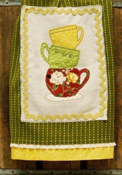 cute stacked teacups dishtowel