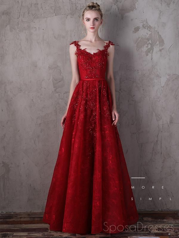 dda6202158 Lace Straps Dark Red A-line V-neck Cheap Long Evening Prom Dresses ...