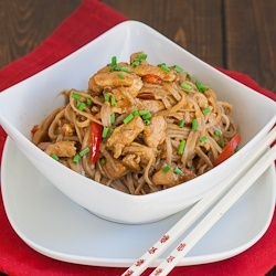 Spicy Peanut and Chicken Soba Noodles