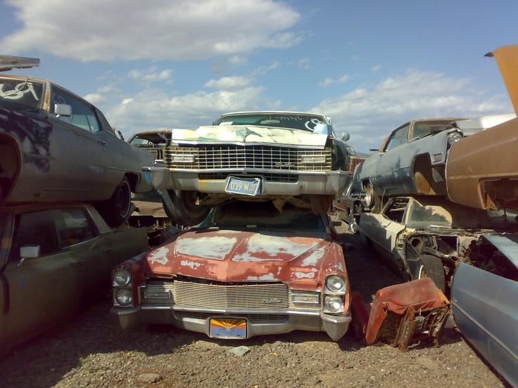 Smashed usa cars