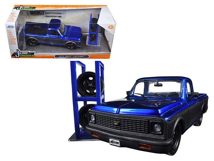 "1972 Chevrolet Cheyenne Blue/Matt Grey Pickup Truck ""Just Trucks"" with Extra Wheels 1/24 Diecast Model by Jada"