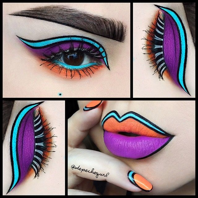 I decided to do a matching eye look with the nail and lip art  I used @mybeautymarkmakeupacademy Maleficent eyeshadow palette for the purple. @kryolanofficial Ocean Cream Liner for the Aqua. Fright Night Glow In The Dark Lashes. Discontinued MUFE Eyeshadow for the Orange. @nyxcosmetics Matte Black Liquid Liner. Flawless Collection Brushes by @morphebrushes