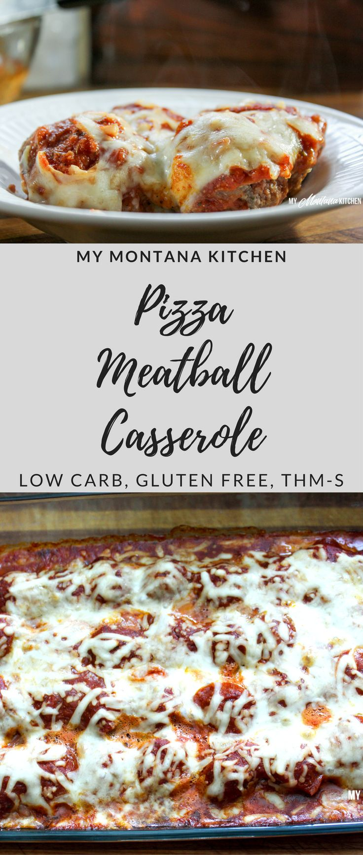 Low Carb Pizza Meatball Casserole #trimhealthymama…