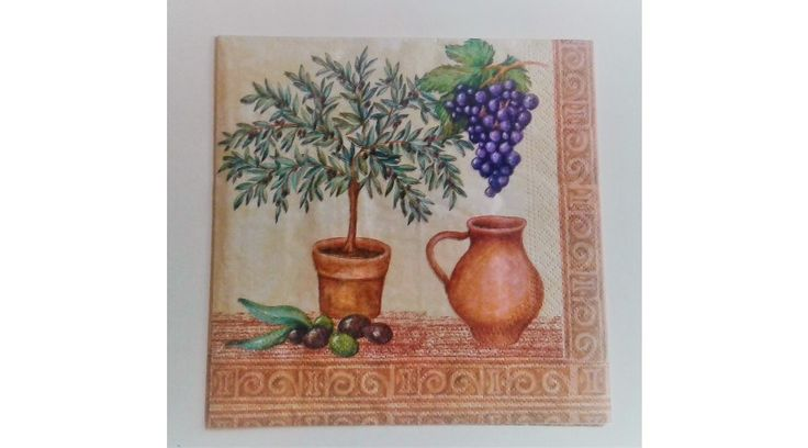 Olivás, szőlős Toscan szalvéta - KreatívHobbyDekor webáruház