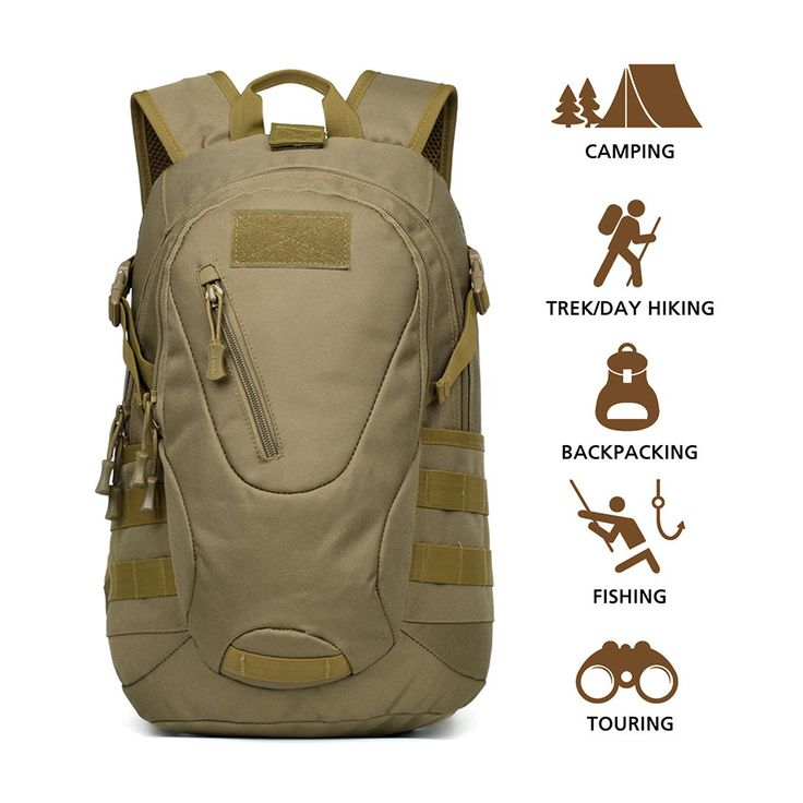 """Hisea Outdoor Tactical Military Backpacks Waterproof Hiking Daypack Nylon Rucksacks MOLLE Bag for Cycling Camping Travelling Hunting Trekking, 15 liters, Brown Color. DURABLE AND WATERPROOF - HISEA backpack is made of durable military nylon, its surface material contains waterproof coating that ensures protecting the package in suddenly rainy days. CAPACITY AND LIGHTWEIGHT - Size of the bag 10.63""""(L) x 5.12""""(W) x 16.93""""(H), which can accommodate capacity of 15L, its capacity more than..."""
