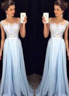Light blue A-line chiffon lace long prom dress, bridesmaid dress