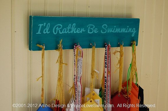 How do you display your child's swim ribbons?  This is a great way available at www.PeaceLoveSwim.com