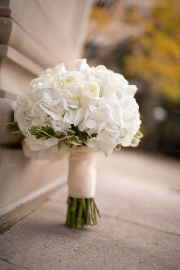 Classic Church Wedding White Hydrangeas Simple Bridal Bouquets Hydrangea Bridal Bouquet White Bridal Bouquet