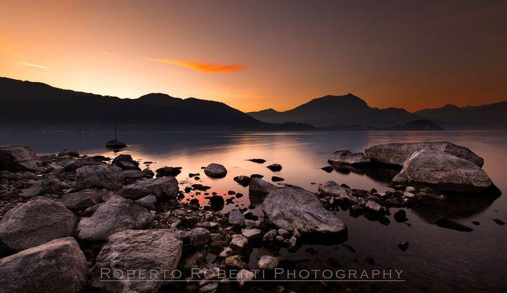 Winter Sunset on Como Lake - null