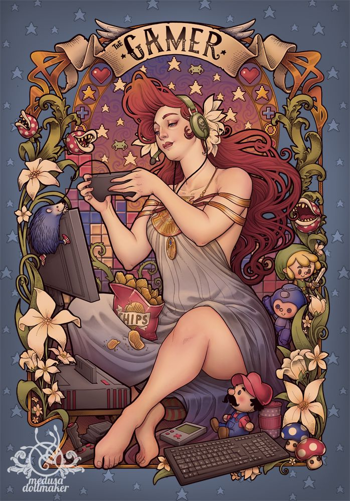 Medusa Dollmaker: Gamer girl nouveau in Teefury . Support this artist! (http://medusadollmaker.blogspot.com.es/2015/01/gamer-girl-nouveau-in-teefury.html)