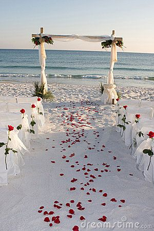 Mariage rose de pétales de chemin de plage