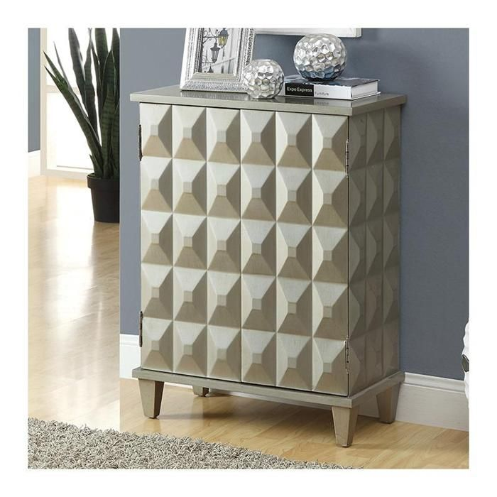 Contemporary Bombay Chest in Brushed Silver | Nebraska Furniture Mart